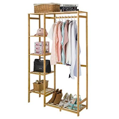 Bamboo Wood Clothing Garment Rack with Shelves