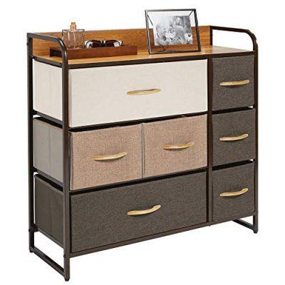 mDesign Wide Dresser Storage Chest, Sturdy Steel Frame