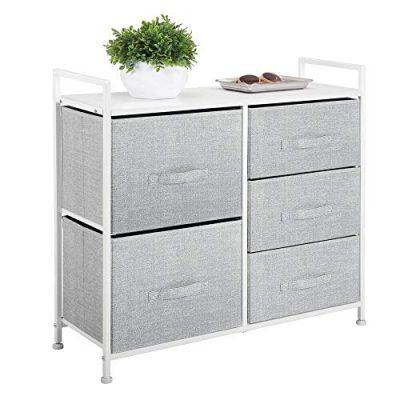Wide Dresser Storage Tower Easy Pull Fabric Bins