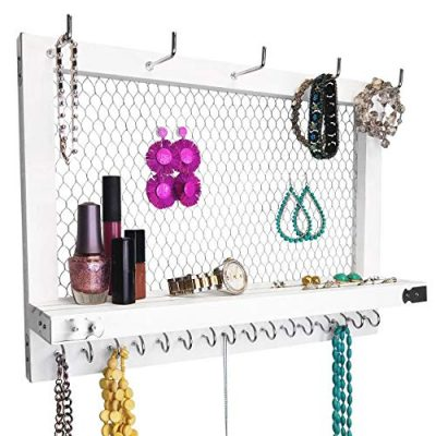 White and Silver Wall Mounted Hanging Jewelry Organizer