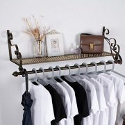 Wrought Iron Coat Rack Shelf Wall Mounted