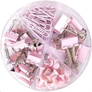 Paper Clips and Binder Clips Push Pins Set and Holder