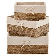 EZOWare Set of 3 Natural Woven Seagrass Nesting Wicker Shelf Storage