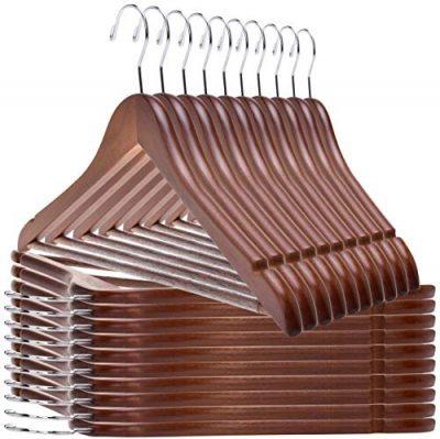 Quality Wooden Hangers - Slightly Curved Hanger 20 Pack Sets