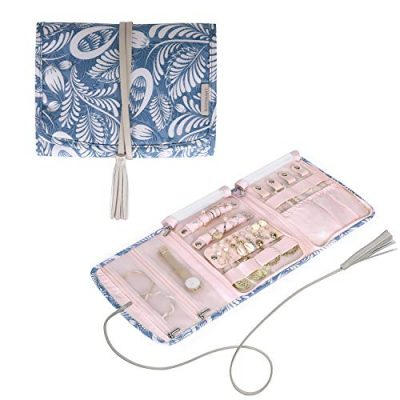 Foldable Floral Jewelry Roll Organizer Case