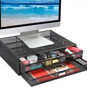 Mesh Metal Monitor Stand Riser with Drawer