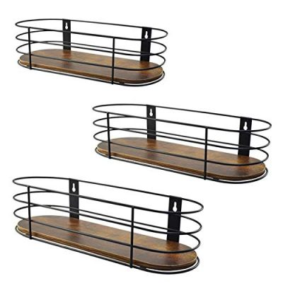 Oval Floating Wall Shelves Set of 3 Rustic Wood Wire Frame