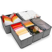 Criusia Underwear Drawer Organizer, 6 Set Foldable Underwear