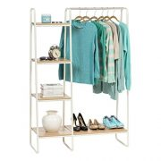 IRIS USA Metal Garment Rack with Wood Shelves