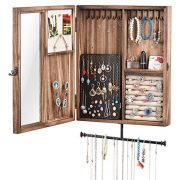 Keebofly Wall Mounted Jewelry Organizer With Rustic Wood