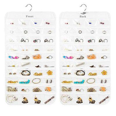Earring Organizer, Dual-Sided 80-Pocket