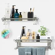 Shower Caddy Bathroom Shelf Storage with 4 Hooks for Houseware