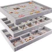 Mebbay Stackable Velvet Jewelry Trays Organizer