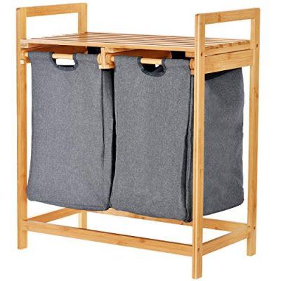 Bamboo Laundry Hamper with Dual Compartments