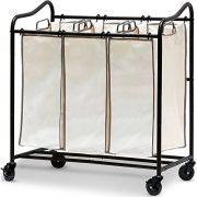 Heavy-Duty 3-Bag Laundry Sorter Rolling Cart