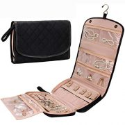 Travel Jewelry Organizer Roll with Zipper Pockets