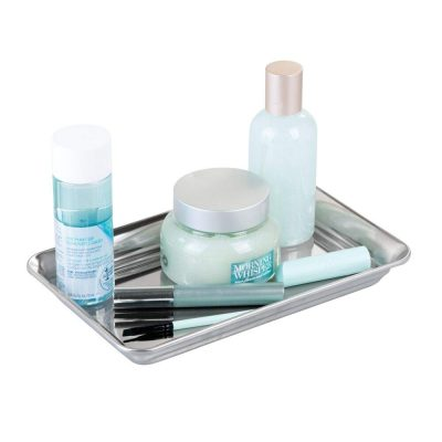 mDesign Metal Storage Organizer Tray for Bathroom Vanity Countertops, Closets, Dressers - Holder for Watches, Earrings, Makeup Brushes, Reading Glasses, Perfume, Guest Hand Towels - Polished