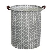 Tsingree Collapsible Laundry Hamper, Round Cotton Linen Laundry Basket