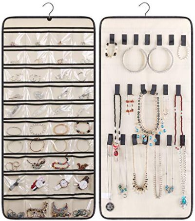 40 Pockets and 20 Hook & Loops Closet Necklace Holder