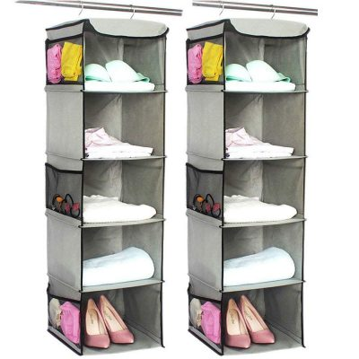 Hanging Shelves with 6 Side Pockets for Clothes Storage