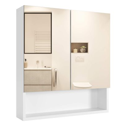 Wall Mirror Cabinet with Double Doors and Adjustable Shelf