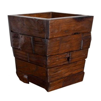 Trash Can Solid Wood Vintage