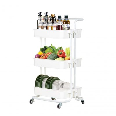Rolling Utility Cart Storage Shelves Cart with Handle & Brakes