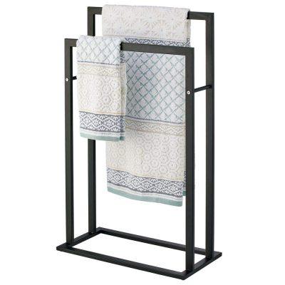 mDesign Tall Modern Metal Freestanding Towel Rack Holder