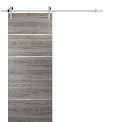 Barn Sliding Grey Door 42 x 84 with Stainless Steel Hardware