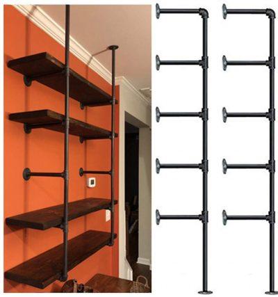 Industrial Retro Wall Mount Iron Pipe Shelf,DIY Open Bookshelf