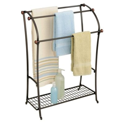 Large Freestanding Towel Rack Holder with Storage Shel