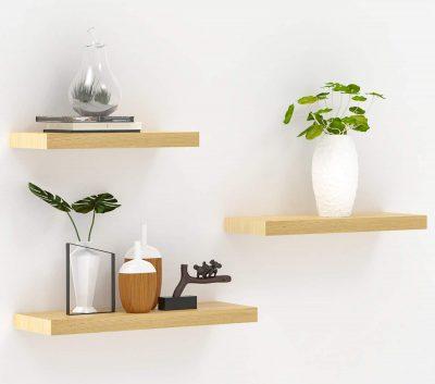 INMAN Floating Shelves Wood Wall Shelves Set of 3