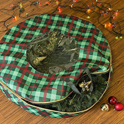 Honey-Can-Do Plaid 36-Inch Wreath Storage