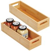 Bamboo Kitchen Cabinet & Fridge Drawer Organizer Tray