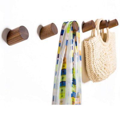 Wall Hooks, Felidio Natural Wood Coat Hooks Wall Mounted