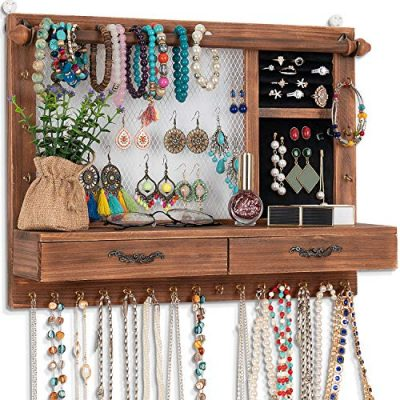 Wall Mounted Jewelry Organizer for Earring Stud Ring Necklace