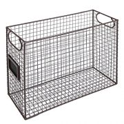 File Folder Organizer Wire Brown Metal Document Storage Container