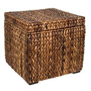 BIRDROCK HOME Woven Storage Cube - Abaca Seagrass Decorative Ottoman