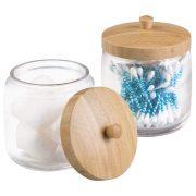 mDesign Glass Bathroom Vanity Storage Organizer Canister Jar