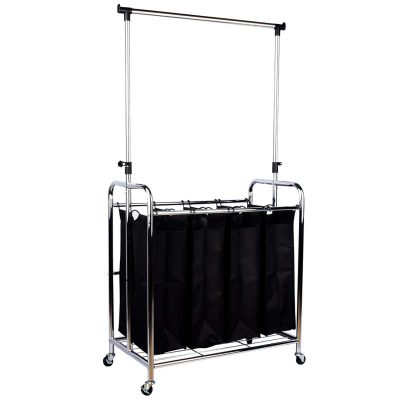 Laundry Hamper Sorter Cart with Hanging Bar and Rolling Wheels