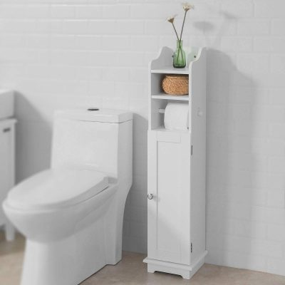 Haotian ,White Free Standing Wooden Bathroom Toilet Paper