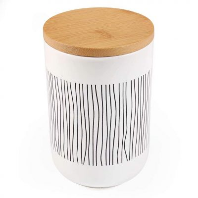Ceramic Food Storage Canister with Airtight Wooden Lid