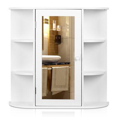 White Finish Medicine Storage Organizer with Mirror Single