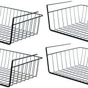 PENGKE Black Under Shelf Basket,4 Pack Slides Under Cabinet Storage