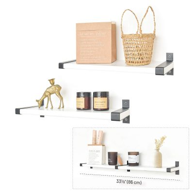 Labcosi White Floating Shelves Wall Mounted for Living Room