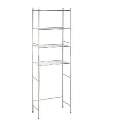 4-Tier Over-The-Toilet Chrome Shelving Unit