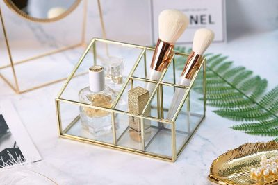 Glass & Metal Cosmetic Organizer Brass Makeup Storage