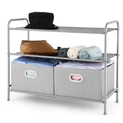 Tiers Closet Shelf Organizer with 2 Drawers for Home Storage