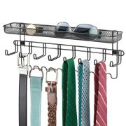 mDesign Closet Wall Mount Males's Accessory Storage Organizer
