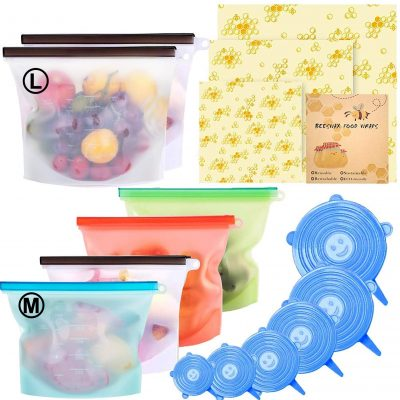 Beeswax Wrap & Silicone Food Storage Bag & Silicone Stretch Lids